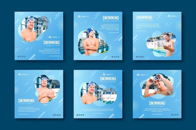 Plantilla de publicaciones de instagram de natación