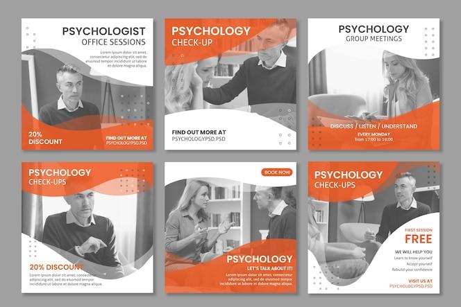 Plantilla de publicaciones de instagram de la oficina de psicología