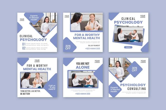 Plantilla de publicaciones de instagram de psicología clínica