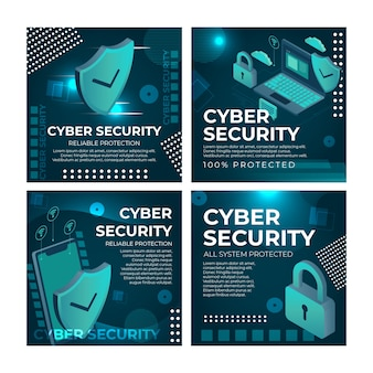 Plantilla de publicaciones de instagram de seguridad cibernética