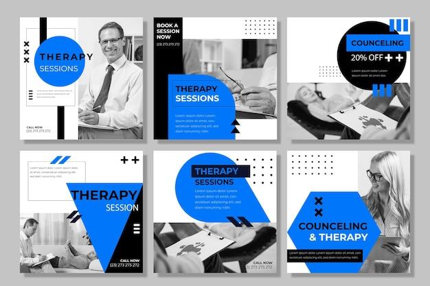 Plantilla de publicaciones de instagram de sesiones de terapia