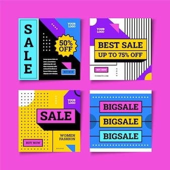 Plantilla de publicaciones de instagram de venta plana