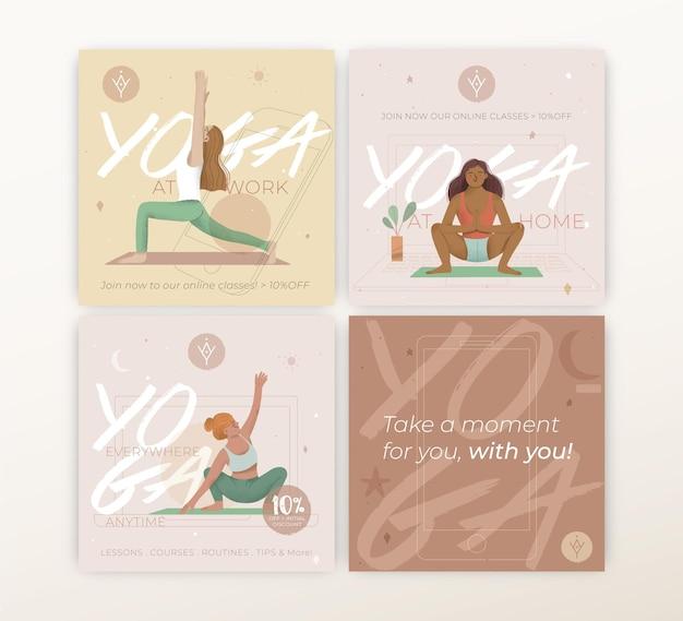 Plantilla de publicaciones de instagram de yoga