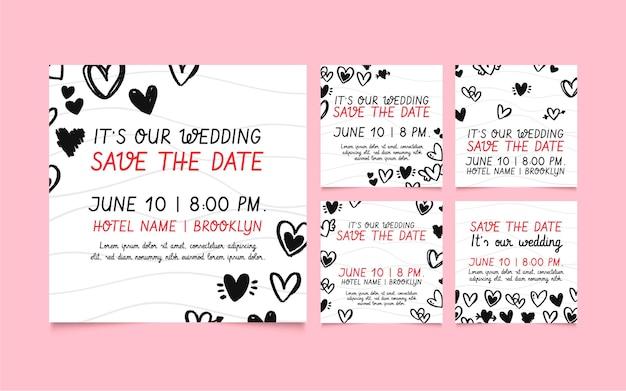 Plantilla de publicaciones de redes sociales de boda con corazones garabatos