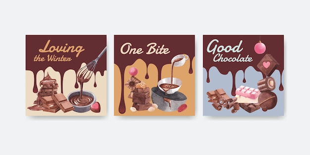 Plantilla de publicidad con chocolate