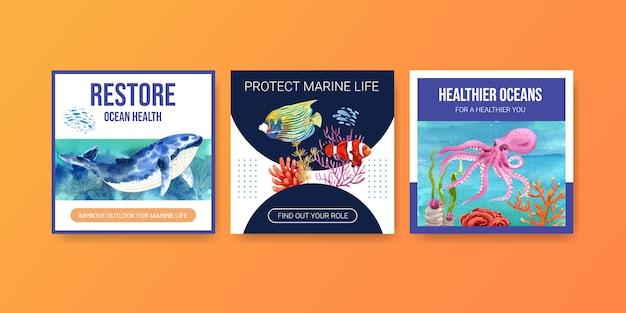 Plantilla de publicidad del concepto de protección del medio ambiente del día mundial de los océanos con ballenas, corales, nemo y pulpos.