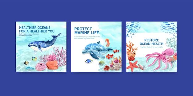 Plantilla de publicidad del concepto de protección del medio ambiente del día mundial de los océanos con ballenas y pulpos.