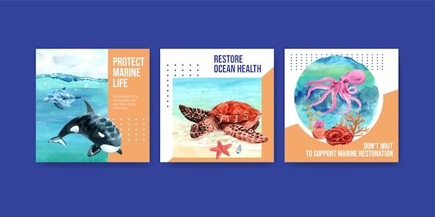 Plantilla de publicidad del concepto de protección del medio ambiente del día mundial de los océanos con tortugas, corales, pulpos y orcas.