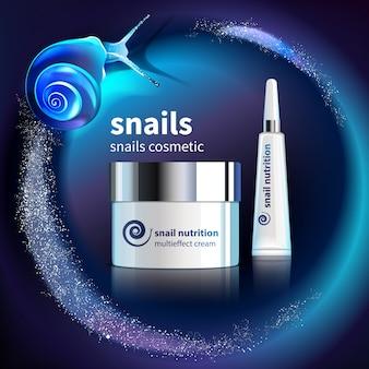 Plantilla de publicidad cosmética de caracoles