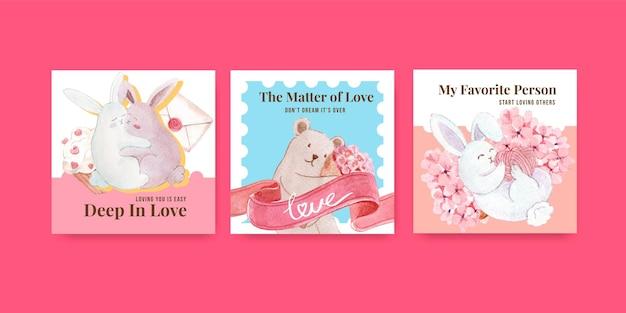 Plantilla de publicidad con diseño de concepto de amor para marketing y negocios ilustración acuarela