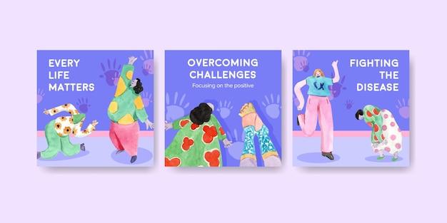 Plantilla de publicidad con diseño de concepto del día mundial del síndrome de down para marketing ilustración acuarela