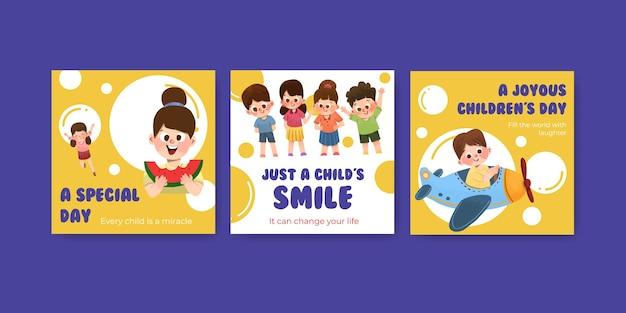 Plantilla de publicidad con diseño de concepto del día del niño