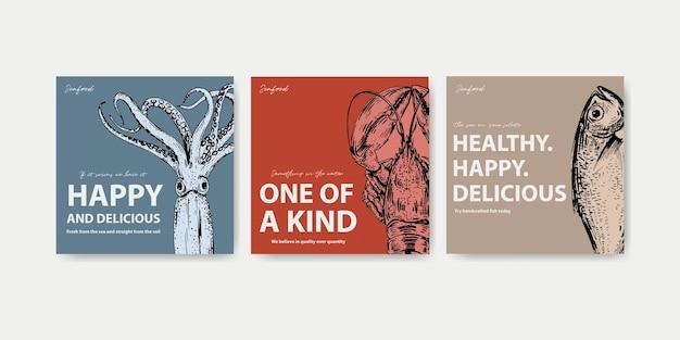 Plantilla de publicidad con diseño de concepto de mariscos para ilustración de marketing