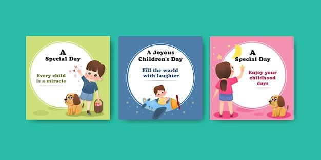 Plantilla de publicidad con diseños de concepto del día del niño.