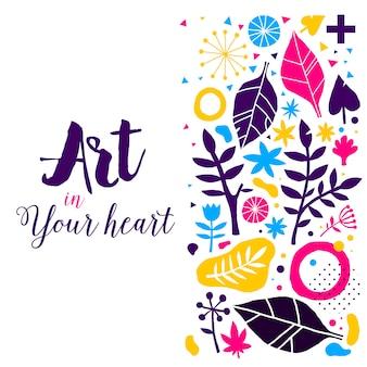 Plantilla de publicidad con elementos coloridos dibujados a mano