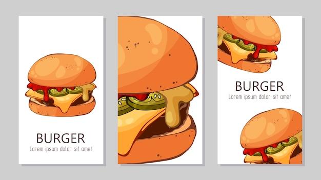 Plantilla para publicidad de hamburguesas de diferentes recetas.