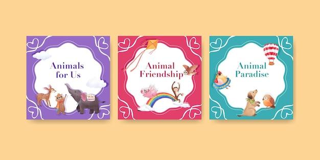 Plantilla de publicidad con ilustración acuarela de concepto de animales felices