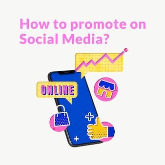 Plantilla de publicidad online editable con teléfono móvil para empresas de comercio electrónico