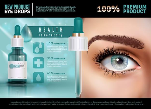 Plantilla de publicidad realista de gotas para los ojos