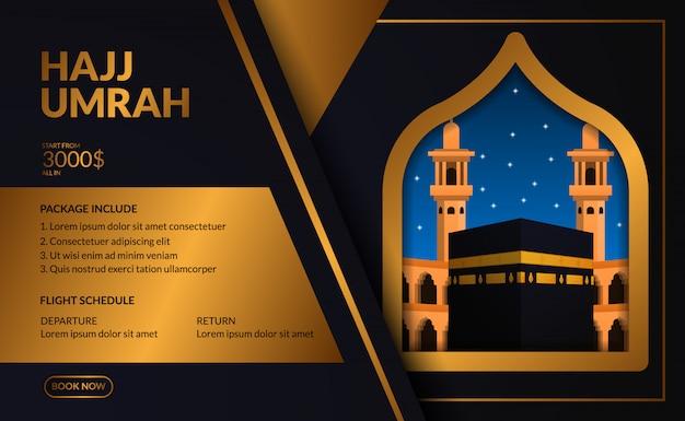 Plantilla de publicidad de viaje de hajj y umrah de lujo elegante y moderno con kaaba realista desde la ventana con ilustración de marco dorado.