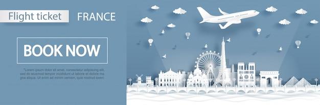 Plantilla de publicidad de vuelo y boleto con concepto de viaje a parís, francia con monumentos famosos