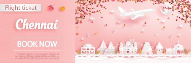 La plantilla de publicidad de vuelos y boletos con viajes a chennai, india en la temporada de otoño trata sobre la caída de hojas de arce y monumentos famosos en la ilustración de estilo de corte de papel