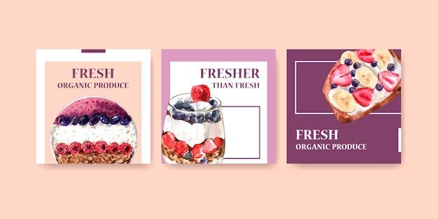 Plantilla publicitaria con diseño de alimentos saludables y orgánicos.