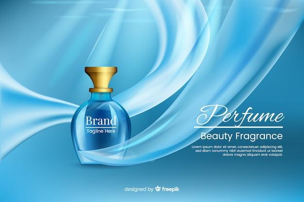 Plantilla publicitaria realista para perfume