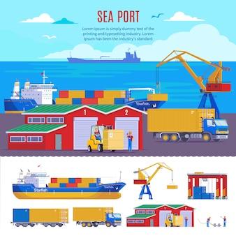 Plantilla de puerto marítimo industrial