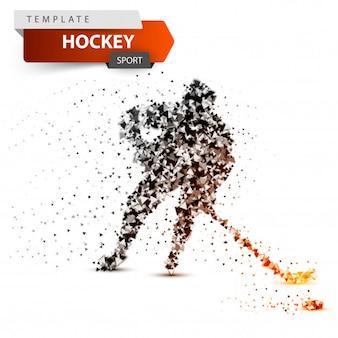 Plantilla de punto de hockey. ilustración de palo y arandela.