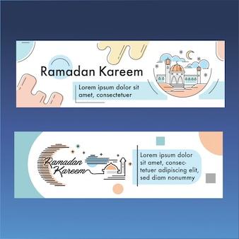 Plantilla de ramadan kareem banner con vector de ilustración de contorno de color pastel