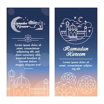 Plantilla de ramadan kareem banner con vector de ilustración de contorno