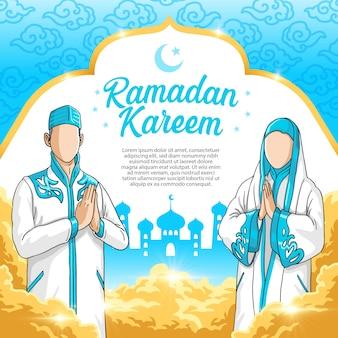 La plantilla de ramadán kareem con hombre y mujer usa tela islámica, vestido y hijab, se perdonan