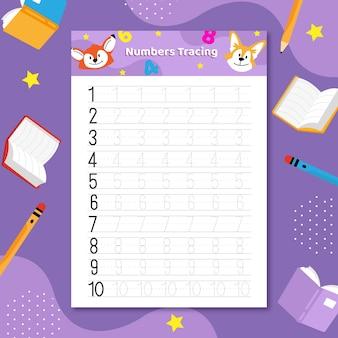 Plantilla de rastreo de números con libros y animales.