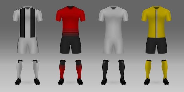 Plantilla realista 3d camiseta de fútbol juventus, manchester united, valencia, young boys