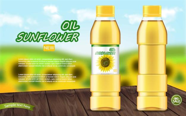 Plantilla realista de aceite de girasol