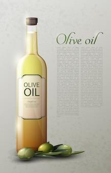 Plantilla realista de aceite de oliva natural con botella de vidrio de texto y aceitunas verdes maduras
