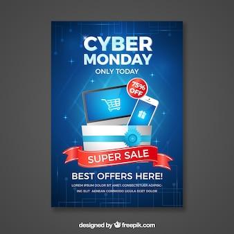 Plantilla realista azul de cartel de cyber monday