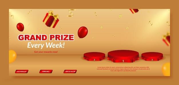 Plantilla realista de banner de gran premio con podio y caja de regalo