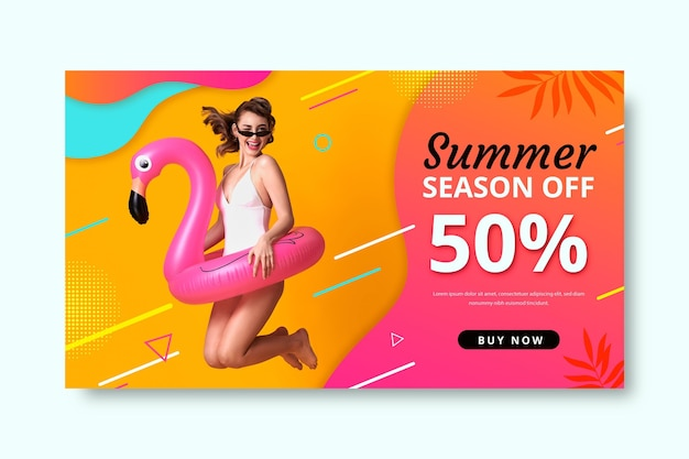 Plantilla realista de banner de rebajas de verano con foto