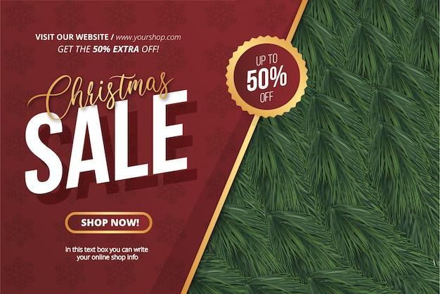 Plantilla realista de banner de venta de navidad