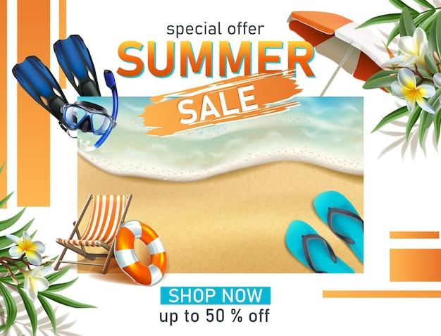 Plantilla realista de banner de venta de verano con máscara de buceo, hamaca y mar