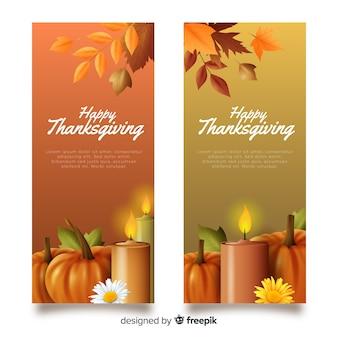 Plantilla realista de banners de acción de gracias