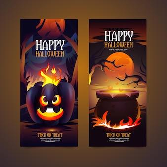 Plantilla realista de banners de halloween