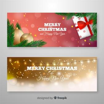 Plantilla realista de banners de navidad