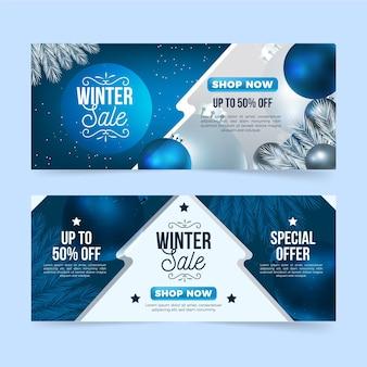 Plantilla realista de banners de rebajas de invierno