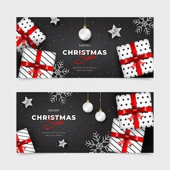 Plantilla realista de banners de rebajas de navidad
