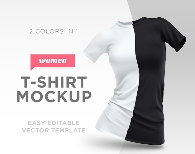 Plantilla realista en blanco y negro mujer camiseta algodón ropa. maqueta vacía