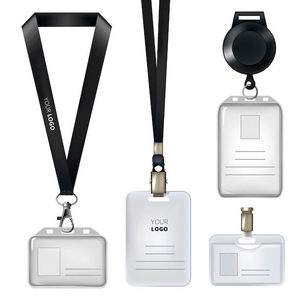 Plantilla realista de carnet de identidad o distintivos personales.