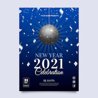Plantilla realista de cartel de fiesta de año nuevo 2021
